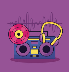 Vintage boombox stereo vinyl and headphones music vector