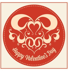 Vintage greeting card for Valentines day holiday vector image