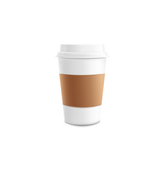 white paper or plastic takeaway coffee cup with vector image