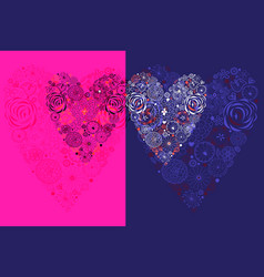 with decorative hearts vector image