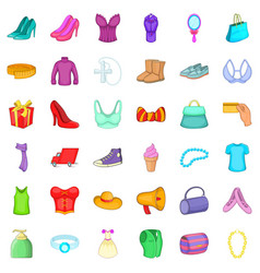 woman shop icons set cartoon style vector image