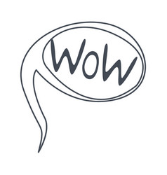 Word wow hand drawn comic speech bubble template vector