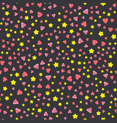 a lot of hearts and crystal star vector image vector image