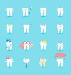 cartoon tooth characters set vector image vector image
