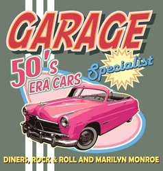 classic car garage 50 era vector image