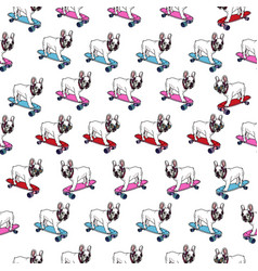 french bulldog on skateboard seamless pattern vector image
