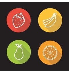 Fruits flat linear icons set vector image vector image