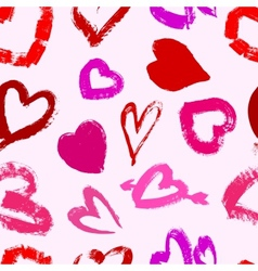 Grunge valentines seamless pattern with hearts vector image vector image