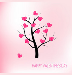 happy valentines day tree with pink hearts vector image vector image