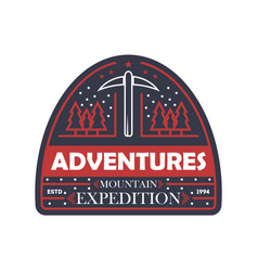 mountain expedition vintage isolated badge vector image vector image