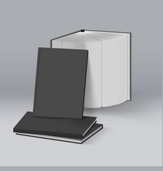 stack of blank black books mockup template vector image vector image