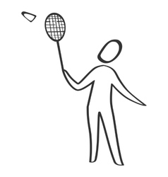 Badminton player sketch style vector image vector image