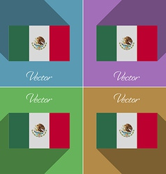 Flags Mexico Set of colors flat design and long vector image vector image