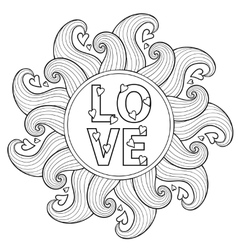 Hand drawn floral frame for adult coloring pages vector image vector image