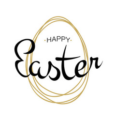 happy easter lettering with scribble egg vector image vector image
