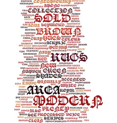 Modern area rugs text background word cloud vector