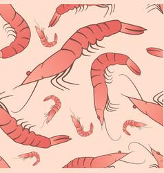 shrimp seamless pattern ornament vector image vector image
