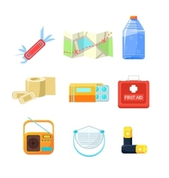 Survival emergency kit for evacuation Items vector image vector image