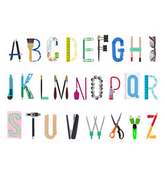 english alphabet from office supplies vector image