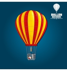 Hot air balloon with detailed elements vector