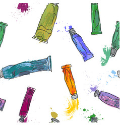 seamless pattern with paint tubes vector image