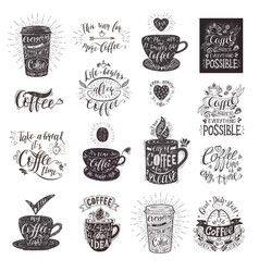 set of coffee quotes with a cup hand-drawn vector image