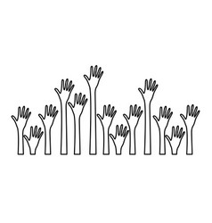 silhouette set hands up and opened icon vector image