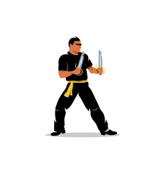 Wing Chun kung fu Master with two swords vector image vector image