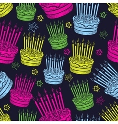 Birthday cake seamless pattern vector image