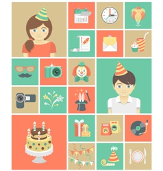 Kids Birthday Party Icons vector image vector image