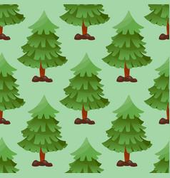 pine tree cartoon green summer needle leaf vector image