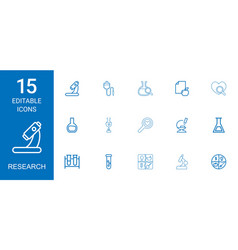 15 research icons vector