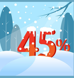 a discount forty five percent figures in the snow vector image