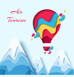 air tourism paper art hot air balloon concept vector image