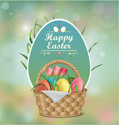 basket with easter eggs tulips and grass vector image