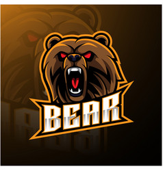 bear head mascot logo design vector image