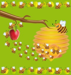bees and apples vector image