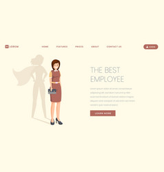 best employee flat landing page template vector image