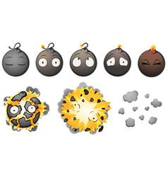 Bomb explode cartoon animation vector