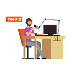 Broadcast in radio studio broadcasting person vector