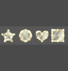broken makeup golden mirrors with light bulbs vector image