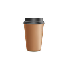Brown craft paper coffee to go mockup in 3d vector