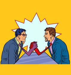 Businessmen arm wrestling ties instead hands vector