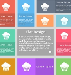 cake icon sign Set of multicolored buttons with vector image