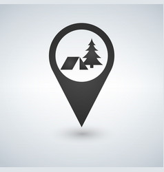 Camping forest base location icon drop shadow map vector