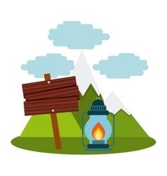 camping lantern in landscape vector image