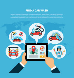 Car wash finder concept vector