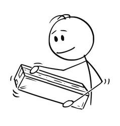 Cartoon man packing or unpacking cardboard vector