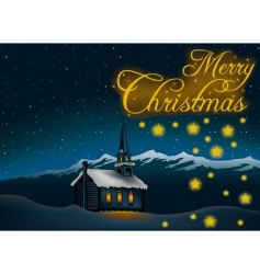 christmas theme 05 - snowy church and night vector image
