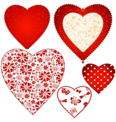 Collection valentine hearts vector image
